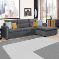 Boden-伊娜L型灰色絨布沙發椅(三人座+腳椅)(贈抱枕)
