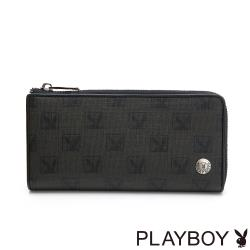 【PLAYBOY】 L拉長夾  紳士棋盤兔系列