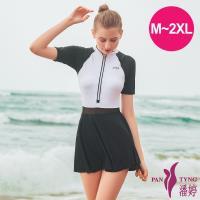 PanTyng潘婷 加大連身裙萊克泳裝 有袖時尚黑(M-2XL)