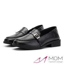 【MOM】真皮小方頭皮帶釦飾百搭舒適低跟鞋 黑