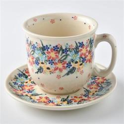 波蘭陶 桃花源系列 咖啡杯盤組 250ml 波蘭手工製