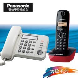 Panasonic 松下國際牌數位子母機電話組合 KX-TS520+KX-TG1611 (經典白+魅惑紅)