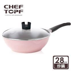 韓國Chef Topf La Rose玫瑰薔薇系列28公分不沾炒鍋-粉(附玻璃蓋)