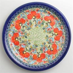 波蘭陶 繽紛紅卉系列 圓形餐盤 25cm 波蘭手工製