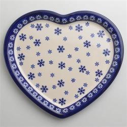 波蘭陶 雪白冰花系列 愛心造型餐盤 波蘭手工製