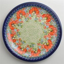 波蘭陶 繽紛紅卉系列 圓形餐盤 27cm 波蘭手工製