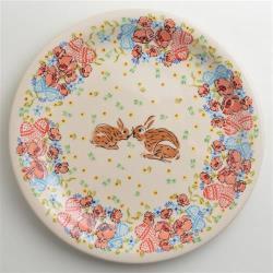 波蘭陶 小兔花園系列 圓形餐盤 27cm 波蘭手工製