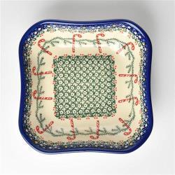 波蘭陶 拐杖糖系列 方形深餐盤 20cm 波蘭手工製