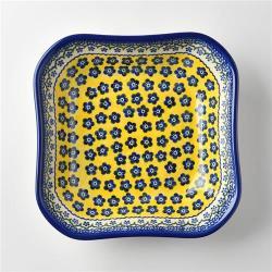 波蘭陶 黃釉青花系列 方形深餐盤 20cm 波蘭手工製