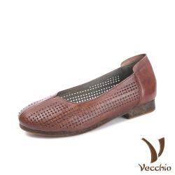 【Vecchio】全真皮頭層牛皮復古雅致窗格縷空造型低跟鞋 棕