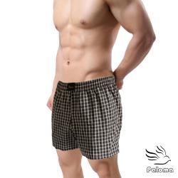 【Paloma】台灣製格紋平織平口褲-咖啡 內褲 男內褲 四角褲