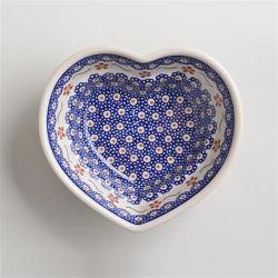 波蘭陶 紅點藍花系列 愛心造型烤盤  波蘭手工製