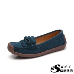 【SOFT WALK 舒步】真皮翻絨牛皮小流蘇蝴蝶結舒適百搭蝸牛鞋 藍