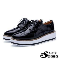 【SOFT WALK 舒步】真皮英倫風布洛克刻花經典厚底綁帶牛津鞋 漆皮黑