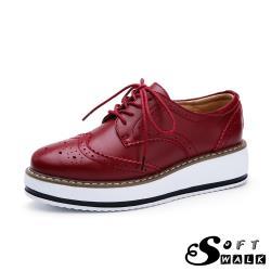 【SOFT WALK 舒步】真皮英倫風布洛克刻花經典厚底綁帶牛津鞋 紅