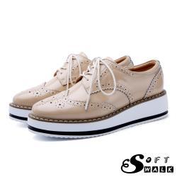 【SOFT WALK 舒步】真皮英倫風布洛克刻花經典厚底綁帶牛津鞋 漆皮卡其