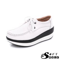 【SOFT WALK 舒步】真皮百搭舒適綁帶簡約造型撞色厚底搖搖鞋 白