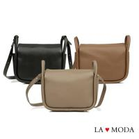 【La Moda】質感女孩特色開口設計大容量肩背斜背包(共3色)