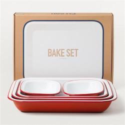 Falcon 獵鷹琺瑯 方形烘培餐盤5入組  紅白