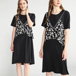 麗質達人 - 11321黑色假二件洋裝