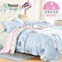 LEEDAR 麗的   守望  頂級使用吸溼排汗專利天絲加大涼被床包組床包高度35公分