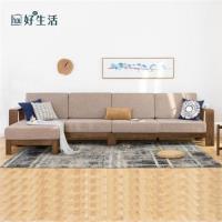 【hoi!】原木日式半島紅橡木實木寬扶手可拆洗小四人布沙發 s0489-1-咖色坐墊