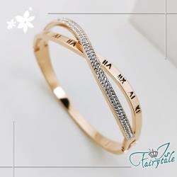 【伊飾童話】羅馬交叉*水鑽母字鈦鋼玫瑰金手環
