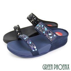 GREEN PHOENIX 晶亮碎鑽壓克力彩石厚底拖鞋U25-28616