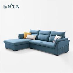 【hoi!】林氏木業簡約現代側邊儲物右L三人布沙發附抱枕S016-孔雀藍