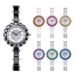 Ogival 瑞士愛其華  精靈系列-托帕石山茶花陶瓷鑽錶-多色可選 380-28
