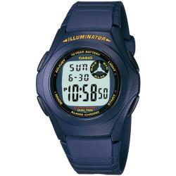CASIO卡西歐 簡約魅力休閒電子手錶-藍X紅框(F-200W-2A)