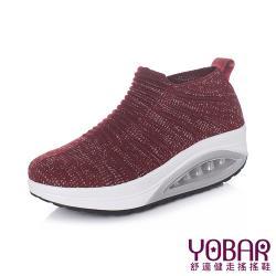 【YOBAR】時尚立體飛織流線造型彈力輕量美腿搖搖鞋 酒紅