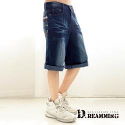 【Dreamming】刺繡1953刷色伸縮牛仔短褲 七分褲(深藍)