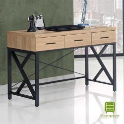 【Hampton 漢汀堡】艾迪蒂黃橡木4尺三抽書桌-橫抽