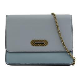 BOTTEGA VENETA 521308 拼色小羊皮翻蓋鍊包.藍