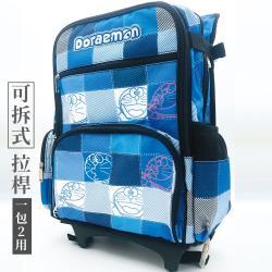 哆啦A夢 昇華格紋 可拆式拉桿書包 行李箱 (藍)