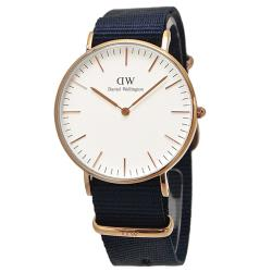 【Daniel Wellington】貝斯沃特午夜藍NATO錶帶石英腕錶-金框/36mm(DW00100279)