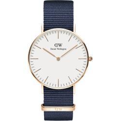 【Daniel Wellington】貝斯沃特午夜藍NATO錶帶石英腕錶-金框/40mm-DW00100277