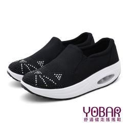 【YOBAR】可愛貓咪燙鑽造型氣墊美腿搖搖鞋 黑
