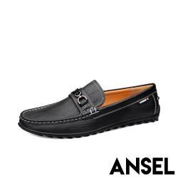 【Ansel】真皮頭層牛皮質感壓紋經典一字帶造型紳士樂福鞋 黑