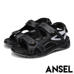 【Ansel】真皮質感牛皮經典魔鬼粘舒適戶外休閒涼鞋 黑
