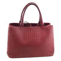 振興券優惠⭐BOTTEGA VENETA 棗紅色編織羊皮手提雙層式Milano托特包(展示品)