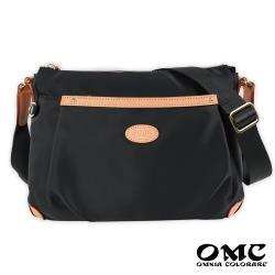 【OMC】休閒前兜款輕盈斜背包(黑色)