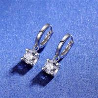 【米蘭精品】莫桑鑽耳環925純銀耳圈-2克拉牛頭爪鑲嵌流行女飾品73yk104【附GRA證書】