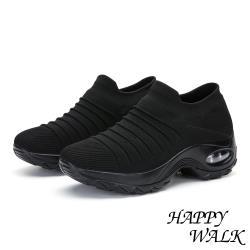 【HAPPY WALK】舒適飛織立體摺線時尚造型氣墊休閒鞋 黑