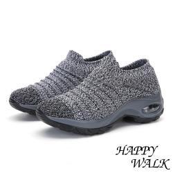 【HAPPY WALK】舒適飛織立體摺線時尚造型氣墊休閒鞋 灰