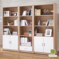 【Hampton 漢汀堡】蒂芙妮系列橡木白7.2尺書櫃組