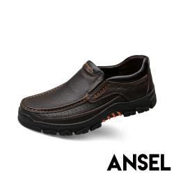 【Ansel】全真皮頭層牛皮機能防滑厚底手工縫線休閒鞋 咖