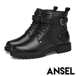 【Ansel】真皮時尚皮帶釦飾造型個性馬丁靴 黑