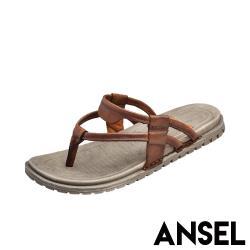 【Ansel】真皮復古線條時尚平底沙灘拖鞋 棕
